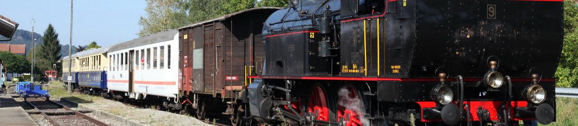 Dampflokomotive mit Schienenvelo